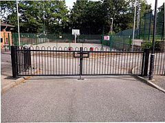 Black bow-top entrance gates