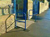 Blue powder coated tubular handrails