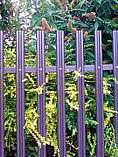 Brown powder coated W profile palisade fence pales with rounded tops