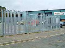 2400mm high galvanised steel palisade fencing with triple pointed tops