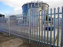 2000mm high galvanised steel palisade fencing with triple pointed tops