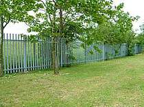 Galvanised steel palisade fencing - palisade pales have rounded tops