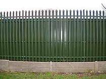 2400mm high powder coated palisade fence with privacy cladding attached to the back of the fence