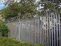 450mm dia. concertina razor wire fixed onto the top of a steel palisade fence