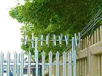 350mm galvanised rotating spikes fixed to the top of a palisade fence