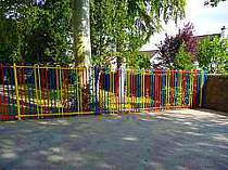 Multi colour bow top railings